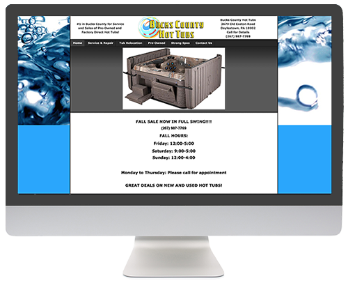 Website Redesign: Bucks County Hot Tubs BEFORE