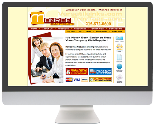 Website Redesign: Monroe Data Products BEFORE